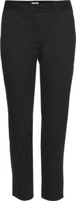 Capri Trousers - pattern: plain; style: capri; waist: mid/regular rise; predominant colour: black; occasions: casual, work; length: calf length; fibres: cotton - stretch; texture group: cotton feel fabrics; fit: slim leg; pattern type: fabric