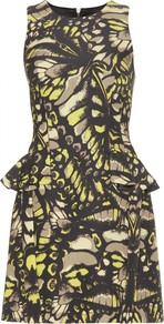 Grosgrain Print Peplum Dress - style: shift; fit: tailored/fitted; sleeve style: sleeveless; waist detail: peplum waist detail; secondary colour: yellow; predominant colour: black; occasions: evening; length: just above the knee; fibres: cotton - mix; neckline: crew; sleeve length: sleeveless; trends: statement prints; pattern type: fabric; pattern size: small & busy; pattern: patterned/print; texture group: jersey - stretchy/drapey