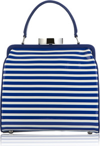 Cobalt And Chalk Stripe Patent Leather Small Eva - predominant colour: royal blue; occasions: casual, evening, work; type of pattern: standard; style: doctor's bag; length: handle; size: standard; material: leather; trends: striking stripes; finish: patent; pattern: horizontal stripes