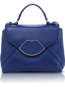 Cobalt Leather Small Audrey - predominant colour: royal blue; occasions: casual, evening, work, occasion; type of pattern: small; style: structured bag; length: handle; size: small; material: leather; embellishment: applique, chain/metal; pattern: plain; finish: plain