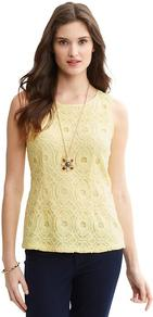 Lace Overlay Shell - neckline: round neck; pattern: plain; sleeve style: sleeveless; predominant colour: primrose yellow; secondary colour: primrose yellow; occasions: casual, work, holiday; length: standard; style: top; fibres: polyester/polyamide - 100%; fit: body skimming; sleeve length: sleeveless; texture group: lace; pattern type: fabric; embellishment: lace