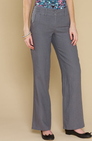Baya Casual Regular Linen Trousers - length: standard; pattern: plain; waist: mid/regular rise; predominant colour: mid grey; occasions: casual; fibres: linen - 100%; texture group: linen; fit: straight leg; pattern type: fabric; style: standard