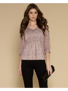 Sally Spot Blouse - neckline: v-neck; style: blouse; pattern: polka dot; secondary colour: ivory; predominant colour: purple; occasions: casual, evening, work; length: standard; fibres: silk - 100%; fit: body skimming; sleeve length: 3/4 length; sleeve style: standard; texture group: sheer fabrics/chiffon/organza etc.; pattern type: fabric; pattern size: small & busy