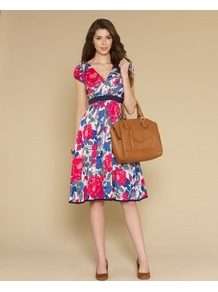 Garden Party Large Floral Dress - style: empire line; neckline: low v-neck; fit: empire; secondary colour: pale blue; occasions: casual, evening, occasion; length: on the knee; fibres: cotton - 100%; waist detail: narrow waistband; predominant colour: multicoloured; sleeve length: short sleeve; sleeve style: standard; texture group: cotton feel fabrics; trends: high impact florals; pattern type: fabric; pattern size: big & busy; pattern: florals