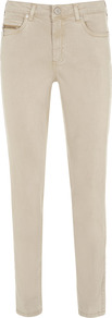 Neutral Zip Pocket Jeans - pattern: plain; pocket detail: traditional 5 pocket; style: slim leg; waist: mid/regular rise; predominant colour: stone; occasions: casual; length: ankle length; fibres: viscose/rayon - stretch; texture group: denim; pattern type: fabric