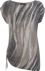 Khloe Print Tunic - neckline: slash/boat neckline; length: below the bottom; style: tunic; back detail: contrast pattern/fabric at back; predominant colour: taupe; secondary colour: charcoal; occasions: casual; fit: body skimming; sleeve length: short sleeve; sleeve style: standard; hip detail: ruffles/tiers/tie detail at hip; pattern type: fabric; pattern size: standard; pattern: patterned/print; texture group: jersey - stretchy/drapey; fibres: viscose/rayon - mix