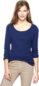 Essential Long Sleeve Crew T - pattern: plain; style: t-shirt; predominant colour: navy; occasions: casual, work; length: standard; neckline: scoop; fibres: cotton - 100%; fit: body skimming; sleeve length: 3/4 length; sleeve style: standard; texture group: cotton feel fabrics; pattern type: fabric