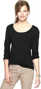 Essential Long Sleeve Scoop T - neckline: round neck; pattern: plain; style: t-shirt; predominant colour: black; occasions: casual, work; length: standard; fibres: cotton - 100%; fit: body skimming; sleeve length: long sleeve; sleeve style: standard; pattern type: fabric; texture group: jersey - stretchy/drapey