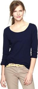 Essential Long Sleeve Scoop T - pattern: plain; style: t-shirt; predominant colour: navy; occasions: casual, work; length: standard; neckline: scoop; fibres: cotton - 100%; fit: body skimming; sleeve length: long sleeve; sleeve style: standard; pattern type: fabric; texture group: jersey - stretchy/drapey