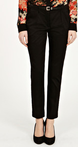 Sateen Slim Leg Trouser - pattern: plain; waist detail: belted waist/tie at waist/drawstring; waist: mid/regular rise; predominant colour: black; occasions: casual, evening, work; length: ankle length; fibres: cotton - stretch; texture group: cotton feel fabrics; fit: slim leg; pattern type: fabric; style: standard