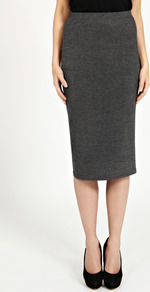 Slim Midi Pencil Skirt - length: below the knee; pattern: plain; style: pencil; fit: tailored/fitted; waist: mid/regular rise; predominant colour: charcoal; occasions: evening, work; fibres: cotton - mix; pattern type: fabric; texture group: jersey - stretchy/drapey