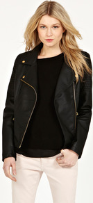 Gold Trim Pu Biker - pattern: plain; style: biker; collar: asymmetric biker; fit: slim fit; predominant colour: black; occasions: casual; length: standard; fibres: polyester/polyamide - mix; sleeve length: long sleeve; sleeve style: standard; texture group: leather; collar break: medium; pattern type: fabric