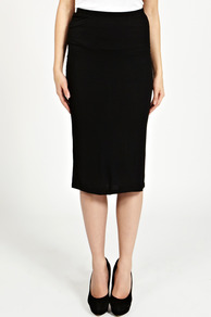 Slim Midi Pencil Skirt - pattern: plain; style: pencil; fit: tailored/fitted; waist: mid/regular rise; predominant colour: black; occasions: evening, work; length: on the knee; fibres: cotton - mix; pattern type: fabric; texture group: jersey - stretchy/drapey