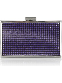 Ava Clutch - predominant colour: royal blue; secondary colour: silver; occasions: evening, occasion; type of pattern: light; style: clutch; length: hand carry; size: small; pattern: plain; finish: metallic; embellishment: jewels