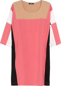 Color Block Brushed Silk Dress - style: tunic; neckline: round neck; fit: loose; pattern: plain, patterned/print, colourblock; predominant colour: pink; occasions: casual; length: just above the knee; fibres: silk - 100%; bust detail: contrast pattern/fabric/detail at bust; sleeve length: 3/4 length; sleeve style: standard; texture group: silky - light; trends: modern geometrics; pattern type: fabric; pattern size: big &amp; light