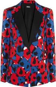 Floral Print Stretch Cotton Jacket - style: single breasted blazer; collar: standard lapel/rever collar; occasions: casual, evening, work, occasion; length: standard; fit: tailored/fitted; fibres: cotton - stretch; bust detail: contrast pattern/fabric/detail at bust; predominant colour: multicoloured; sleeve length: long sleeve; sleeve style: standard; texture group: structured shiny - satin/tafetta/silk etc.; trends: high impact florals, statement prints; collar break: medium; pattern type: fabric; pattern size: big & busy; pattern: florals, patterned/print