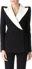 Contrast Lapels Jacket - pattern: plain; style: single breasted tuxedo; shoulder detail: shoulder pads; collar: wide lapels; length: below the bottom; occasions: evening, occasion; fit: tailored/fitted; fibres: wool - mix; sleeve length: long sleeve; sleeve style: standard; predominant colour: monochrome; trends: tuxedo; collar break: medium; pattern type: fabric; texture group: other - light to midweight