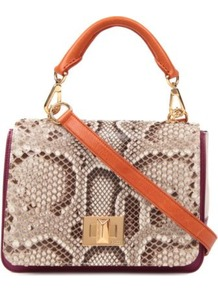 Python And Canvas Satchel - predominant colour: chocolate brown; occasions: casual, work; type of pattern: standard; style: satchel; length: across body/long; size: standard; material: leather; pattern: animal print, patterned/print; finish: plain