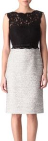 Tweed And Lace Dress - style: shift; fit: tailored/fitted; sleeve style: sleeveless; waist detail: fitted waist, belted waist/tie at waist/drawstring; hip detail: fitted at hip; pattern: herringbone/tweed, patterned/print; predominant colour: black; occasions: evening, occasion; length: on the knee; fibres: cotton - mix; neckline: crew; bust detail: contrast pattern/fabric/detail at bust; sleeve length: sleeveless; texture group: lace; pattern type: fabric; pattern size: small &amp; light