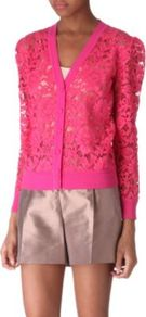Lace Cardigan - neckline: v-neck; pattern: plain, patterned/print; bust detail: buttons at bust (in middle at breastbone)/zip detail at bust, contrast pattern/fabric/detail at bust; predominant colour: hot pink; occasions: evening, work, occasion, holiday; length: standard; style: standard; fibres: cotton - mix; fit: standard fit; shoulder detail: added shoulder detail; sleeve length: long sleeve; sleeve style: standard; texture group: lace; trends: high impact florals, statement prints, fluorescent; pattern type: fabric; pattern size: small & busy