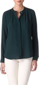 Latavia Blouse - pattern: plain; neckline: high neck; style: blouse; predominant colour: dark green; occasions: casual, work; length: standard; fibres: silk - 100%; fit: straight cut; sleeve length: long sleeve; sleeve style: standard; texture group: sheer fabrics/chiffon/organza etc.; pattern type: fabric