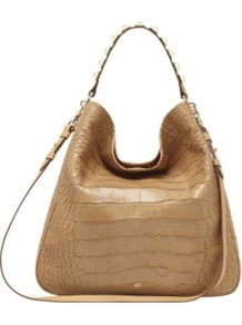 Eliza Large Croc Print Hobo - predominant colour: camel; occasions: casual, evening, work, holiday; type of pattern: light; style: tote; length: shoulder (tucks under arm); size: oversized; material: leather; embellishment: studs, chain/metal; pattern: animal print; trends: metallics; finish: plain