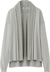 Women Uv Cut Stole Cardigan 02 Light Gray - neckline: shawl; style: open front; predominant colour: light grey; occasions: casual, work; length: standard; fibres: cotton - 100%; fit: loose; back detail: longer hem at back than at front; sleeve length: long sleeve; sleeve style: standard; texture group: knits/crochet; pattern type: knitted - fine stitch