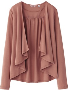 Women Long Sleeve Stole Cardigan 100% Cotton - pattern: plain; neckline: waterfall neck; bust detail: ruching/gathering/draping/layers/pintuck pleats at bust, tiers/frills/bulky drapes/pleats; style: open front; predominant colour: pink; occasions: casual, work; length: standard; fibres: cotton - 100%; fit: loose; sleeve length: long sleeve; sleeve style: standard; texture group: knits/crochet; pattern type: knitted - fine stitch