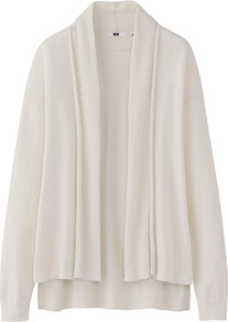 Women Uv Cut Stole Cardigan 01 Off White - pattern: plain; neckline: collarless open; style: open front; predominant colour: ivory; occasions: casual, work; length: standard; fibres: cotton - 100%; fit: loose; back detail: longer hem at back than at front; sleeve length: long sleeve; sleeve style: standard; texture group: knits/crochet; pattern type: knitted - fine stitch