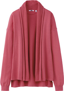 Women Uv Cut Stole Cardigan 12 Pink - neckline: shawl; length: below the bottom; style: open front; predominant colour: pink; occasions: casual, work; fibres: cotton - 100%; fit: loose; back detail: longer hem at back than at front; sleeve length: long sleeve; sleeve style: standard; texture group: knits/crochet; pattern type: knitted - fine stitch