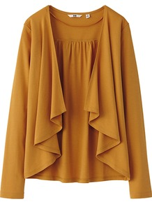 Women Long Sleeve Stole Cardigan 22 Orange - neckline: waterfall neck; bust detail: ruching/gathering/draping/layers/pintuck pleats at bust; style: open front; predominant colour: camel; occasions: casual, work; length: standard; fibres: cotton - 100%; fit: loose; sleeve length: long sleeve; sleeve style: standard; pattern type: fabric; texture group: jersey - stretchy/drapey