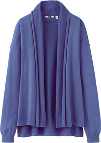 Women Uv Cut Stole Cardigan 73 Purple - neckline: shawl; style: open front; predominant colour: lilac; occasions: casual, work; length: standard; fibres: cotton - 100%; fit: loose; back detail: longer hem at back than at front; sleeve length: long sleeve; sleeve style: standard; texture group: knits/crochet; pattern type: knitted - fine stitch