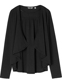 Women Long Sleeve Stole Cardigan 09 Black - neckline: waterfall neck; bust detail: ruching/gathering/draping/layers/pintuck pleats at bust; style: open front; predominant colour: black; occasions: casual, work; length: standard; fibres: cotton - 100%; fit: loose; sleeve length: long sleeve; sleeve style: standard; texture group: knits/crochet; pattern type: knitted - fine stitch
