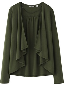 Women Long Sleeve Stole Cardigan 57 Olive - neckline: waterfall neck; style: open front; predominant colour: dark green; occasions: casual, work; length: standard; fibres: cotton - 100%; fit: loose; sleeve length: long sleeve; sleeve style: standard; texture group: knits/crochet; pattern type: knitted - fine stitch
