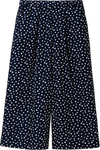Women Easy Prints Skirt Trousers 67 Blue - length: below the knee; style: culotte; fit: loose/voluminous; waist detail: elasticated waist, fitted waist, twist front waist detail/nipped in at waist on one side/soft pleats/draping/ruching/gathering waist detail, narrow waistband; hip detail: side pockets at hip, sculpting darts/pleats/seams at hip; pattern: polka dot, patterned/print; waist: mid/regular rise; predominant colour: navy; occasions: casual, work, holiday; fibres: polyester/polyamide - mix; trends: volume; pattern type: fabric; pattern size: small & busy; texture group: jersey - stretchy/drapey