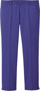 Women Stretch Ankle Length Trousers C 73 Purple - pattern: plain; waist detail: fitted waist, narrow waistband; pocket detail: small back pockets; hip detail: front pockets at hip; waist: mid/regular rise; predominant colour: purple; occasions: casual, work, holiday; length: ankle length; fibres: cotton - mix; texture group: cotton feel fabrics; fit: slim leg; pattern type: fabric; style: standard