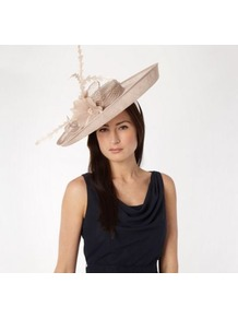 Natural Floral Feather Saucer Hair Piece - predominant colour: stone; occasions: evening, occasion; type of pattern: standard; style: wide brimmed; size: large; material: sinamay; embellishment: feather; pattern: plain