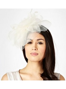 Cream Meshed Feather Flower Headband - predominant colour: ivory; occasions: evening, occasion; type of pattern: small; style: fascinator; size: standard; material: satin; embellishment: feather, corsage; pattern: plain