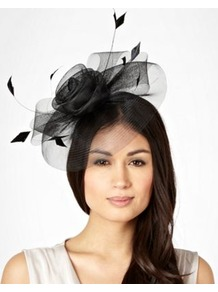 Black Meshed Rose Flower Headband - predominant colour: black; occasions: evening, occasion; type of pattern: standard; style: fascinator; size: standard; material: sinamay; embellishment: feather; pattern: plain