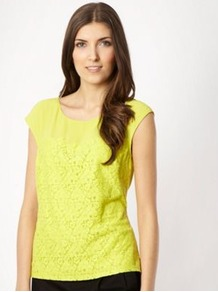 Lime Lace Front Shell Top - neckline: round neck; sleeve style: capped; predominant colour: yellow; occasions: casual, work, holiday; length: standard; style: top; fibres: polyester/polyamide - stretch; fit: straight cut; bust detail: contrast pattern/fabric/detail at bust; sleeve length: sleeveless; trends: fluorescent; pattern type: fabric; pattern size: small & light; texture group: jersey - stretchy/drapey; embellishment: embroidered