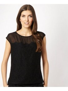 Black Lace Front Shell Top - neckline: round neck; sleeve style: capped; pattern: plain; predominant colour: black; occasions: casual, evening, work, holiday; length: standard; style: top; fibres: polyester/polyamide - 100%; fit: loose; bust detail: contrast pattern/fabric/detail at bust; sleeve length: short sleeve; pattern type: fabric; texture group: other - light to midweight; embellishment: lace
