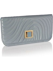 Designer Light Blue Patent Wave Clutch Bag - predominant colour: charcoal; occasions: evening; style: clutch; length: hand carry; size: small; material: faux leather; embellishment: quilted; pattern: plain; finish: patent