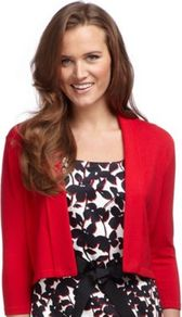 Poppy Fold Collar Shrug - pattern: plain; neckline: shawl; style: bolero/shrug; length: cropped; predominant colour: true red; occasions: casual, evening, work, occasion; fibres: cotton - mix; fit: slim fit; sleeve length: 3/4 length; sleeve style: standard; texture group: knits/crochet; pattern type: fabric
