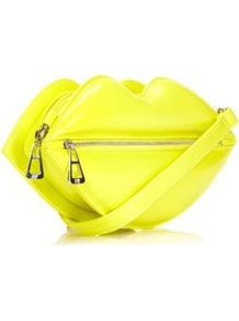 Designer Yellow Lips Zip Front Clutch Bag - predominant colour: yellow; occasions: evening; style: clutch; length: hand carry; size: standard; material: faux leather; pattern: plain; finish: patent