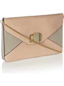 Designer Light Pink Colour Block Clutch Bag - predominant colour: nude; occasions: evening; style: clutch; length: hand carry; size: standard; material: faux leather; pattern: plain; finish: plain