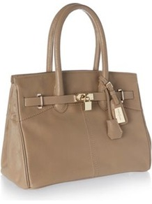 Designer Natural Belted Padlock Tote Bag - secondary colour: taupe; predominant colour: stone; occasions: work; style: tote; length: handle; size: standard; material: leather; pattern: plain; finish: plain