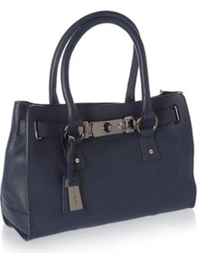 Designer Navy Mini Tote Bag - predominant colour: navy; occasions: casual; style: tote; length: handle; size: standard; material: leather; pattern: plain; finish: plain