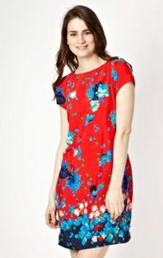 Red Floral Dress - style: shift; length: mid thigh; neckline: slash/boat neckline; sleeve style: capped; predominant colour: true red; occasions: casual, evening, work, occasion; fit: body skimming; fibres: polyester/polyamide - 100%; sleeve length: short sleeve; trends: high impact florals; pattern type: fabric; pattern size: standard; pattern: florals, patterned/print; texture group: jersey - stretchy/drapey