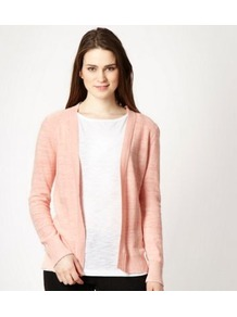 Peach Open Front Asymmetric Cardigan - pattern: plain; neckline: collarless open; style: open front; predominant colour: coral; occasions: casual; length: standard; fibres: cotton - mix; fit: standard fit; sleeve length: long sleeve; sleeve style: standard; texture group: knits/crochet; pattern type: knitted - other