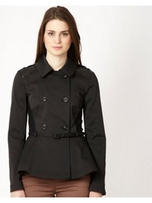 Black Peplum Trench Jacket - pattern: plain; length: standard; style: double breasted; predominant colour: black; occasions: casual, evening, work; fit: tailored/fitted; fibres: polyester/polyamide - stretch; collar: shirt collar/peter pan/zip with opening; waist detail: belted waist/tie at waist/drawstring; sleeve length: long sleeve; sleeve style: standard; collar break: high; pattern type: fabric; texture group: other - light to midweight
